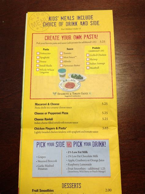 Olive Garden Children S Menu what s for dinner olive garden out to eat with