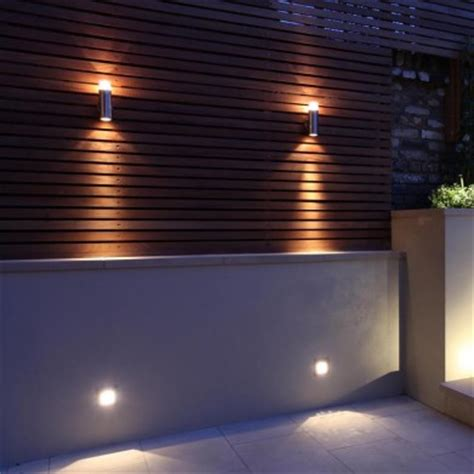 Outdoor Garage Wall Lights Exterior Lighting Provides A Warm Patterned Uplight And A Shaft Of Downlight Mains Dimmable