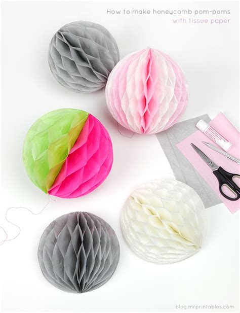 Make Your Own Tissue Paper Pom Poms - how to make honeycomb pom poms mr printables