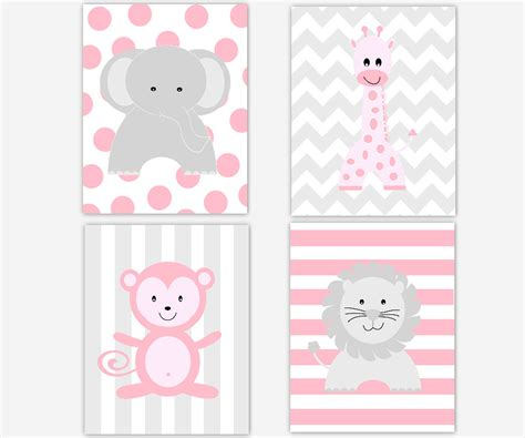 Pink Elephant Nursery Decor Baby Nursery Wall Pink Gray Elephant By Dezignerheartdesigns