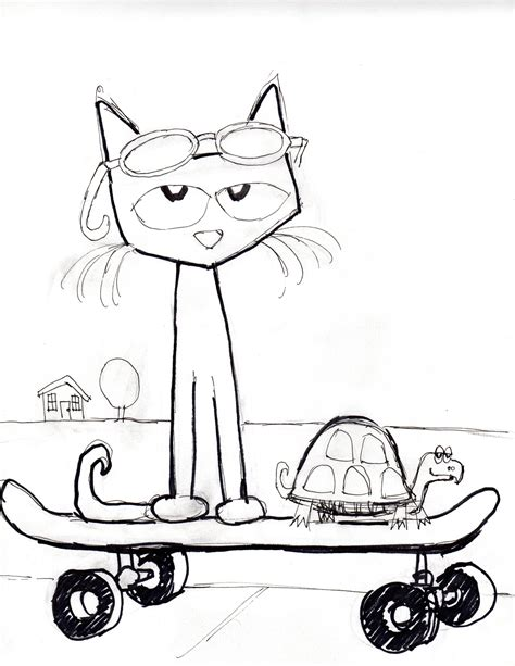coloring page of pete the cat cc3