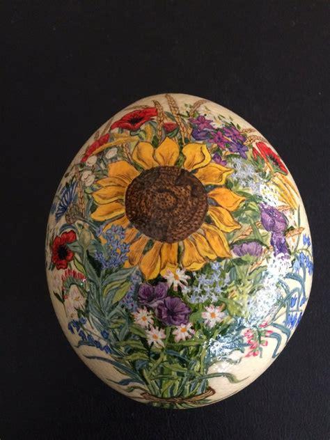 dipinto di fiori uovo di struzzo vero dipinto a mano in olio di fiori per