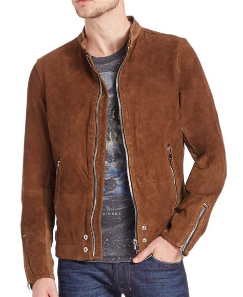 Suede Leather casual wear zipper mens brown suede leather jacket