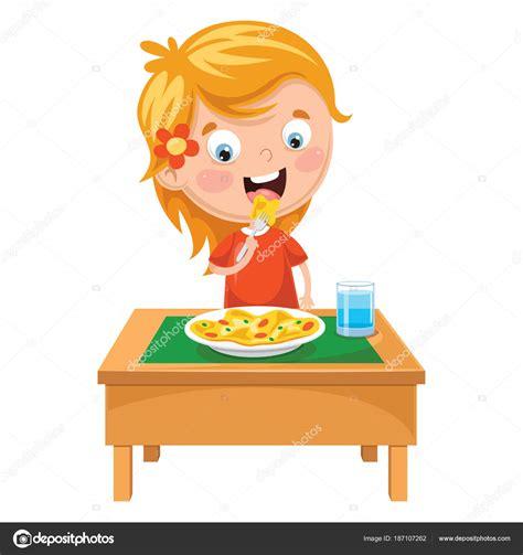 clipart bambino illustrazione vettore bambino mangia pasto