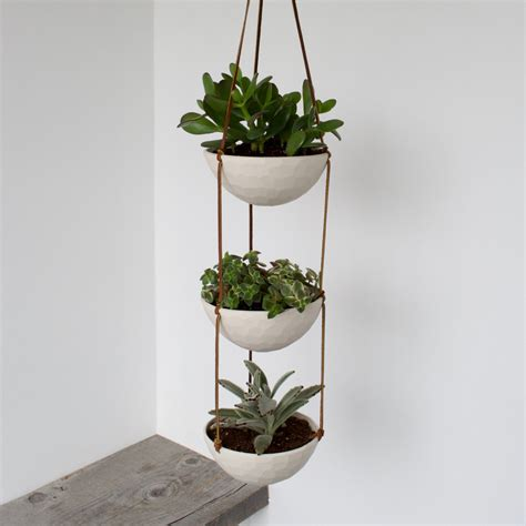 3 Tier Hanging Succulent Planter Geometric Faceted Or Smooth Hanging Succulent Planter