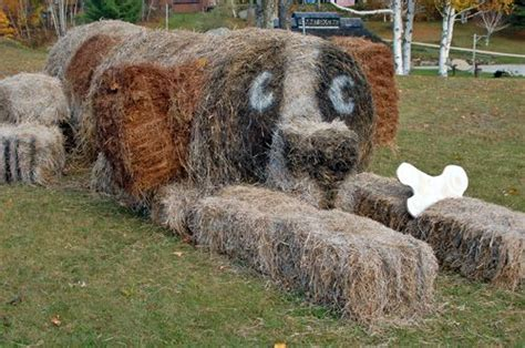 hay bale dog house killington vermont hay bale art photo gallery hay bale sculptures on display in