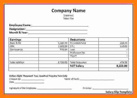 6 Payroll Invoice Template Technician Salary Slip Free Payroll Invoice Template