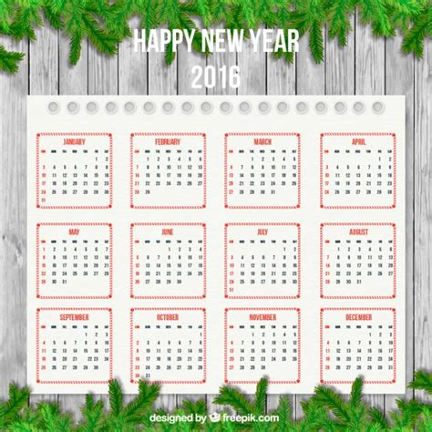 Calendar Decoration by New Year Calendar With Garland Decoration Vector Premium