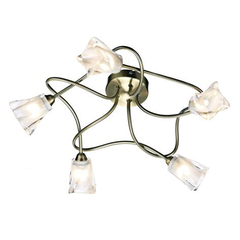 Modern Antique Brass Ceiling Lights Compact 5 Light Ceiling Light Antique Brass With Flower Glass Shades