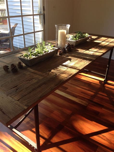 restoration hardware flatiron table succulent centerpieces  parlor pinterest