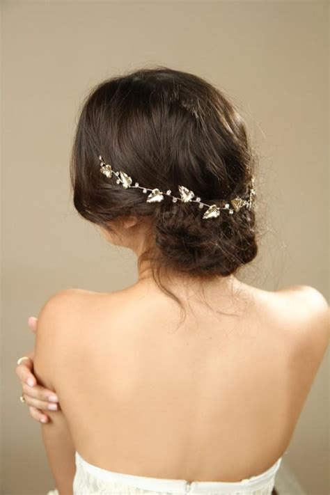 50 wedding hair styles with tiara gold leafs wedding hair wreath golden leaf crown greek