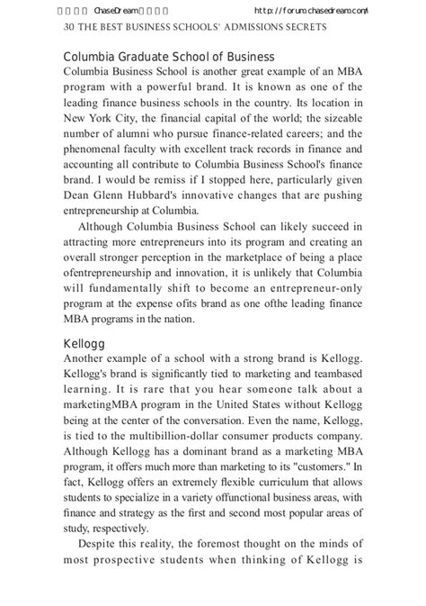 Kellogg Mba Application Process by The Best Business Schools Admissions Secrets