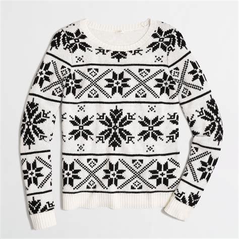 Kemeja Sweater Black White j crew factory snowflake fair isle sweater in white lyst