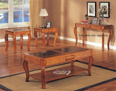 save on carved oak 3 glass top coffee table set