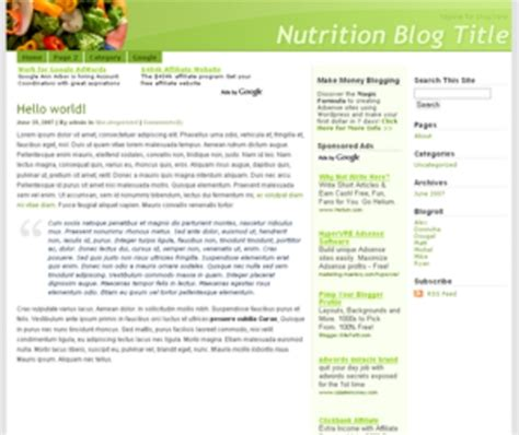 wordpress nutrition related blog template theme download