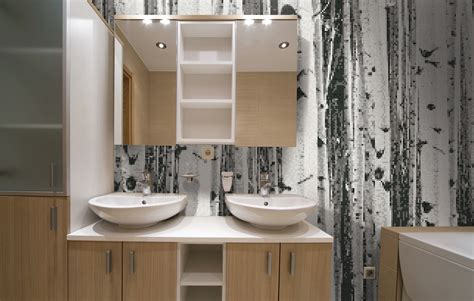grey mosaic bathroom grey birch trees tile pattern aspen titanium by artaic