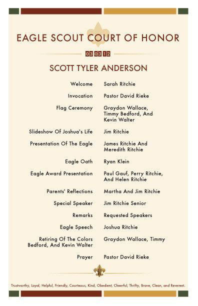 eagle scout program template eagle scout court of honor invitations and program with