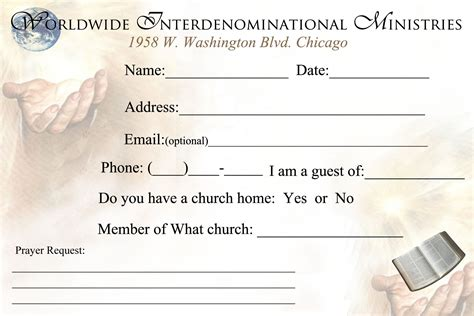 church contact cards template church visitor cards templates