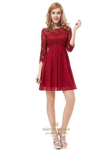 Sleeve Chiffon A Line Dress burgundy chiffon a line bridesmaid dresses with half