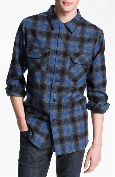 pendleton board plaid flannel shirt in blue for lyst