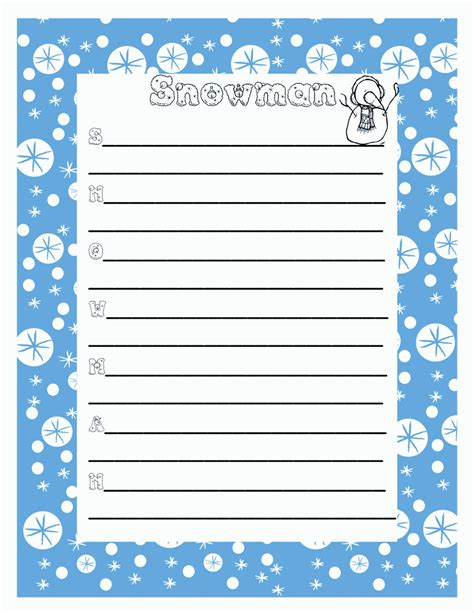 snowman template writing new calendar template site