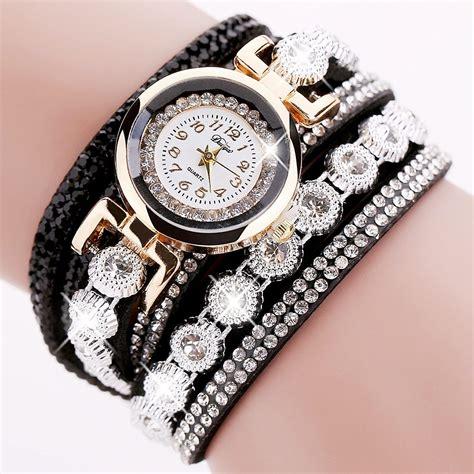 Jam Tangan Wanita Paket Free Gelang 1 jam tangan wanita model gelang rhinestone dy038 black jakartanotebook