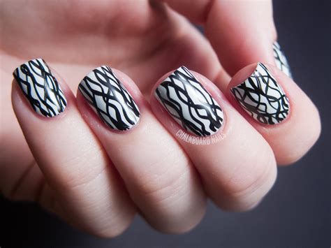easy nail art designs on black base 31dc2012 day 07 black and white nails chalkboard nails