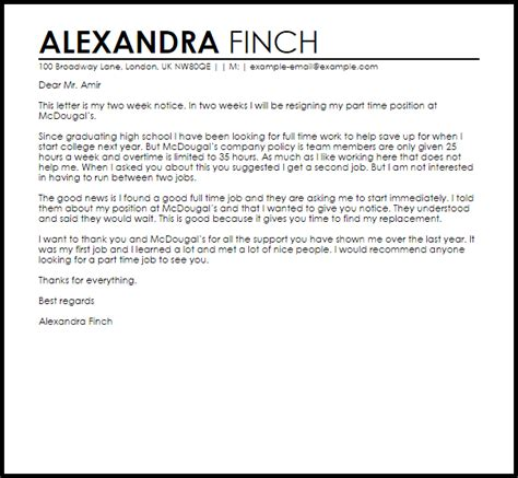 Letter For Part Time letter of resignation from fulltime to part time resume