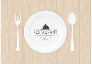 free restaurant logo on paper plate vector download free
