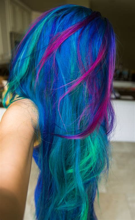 multi color hair dye rainbow hair multi colored hair manic panic dye