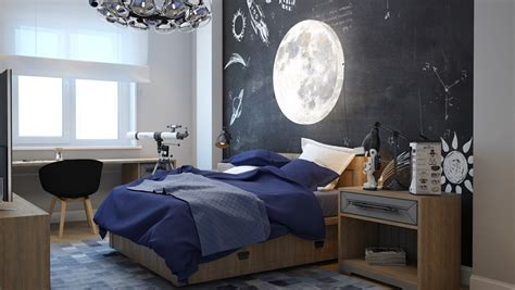 childrens bedroom space theme clever kids room wall decor ideas inspiration