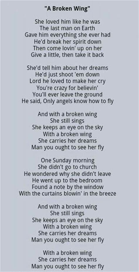 song lyrics martina mcbride a broken wing martina mcbride song lyrics
