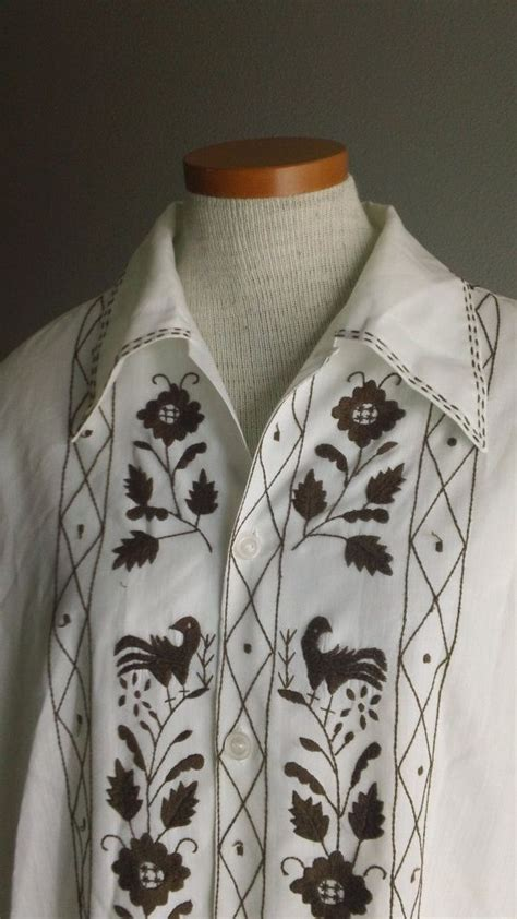 mens mexican embroidered cotton 60s ethnic shirt by