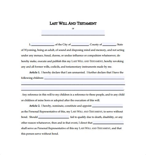 easy last will and testament free template last will and testament form 9 free documents