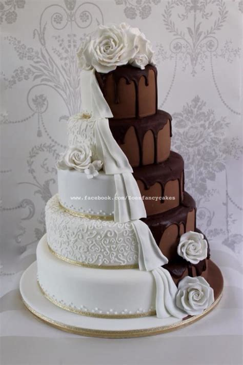 fancy wedding cakes pictures chocolate wedding cake half and half cake by
