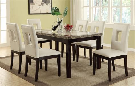 Marble Dining Table And 6 Chairs 7pc York Marble Top 6 Chairs Dining Table Set
