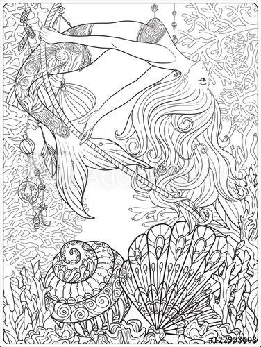 underwater mermaid coloring pages hand drawn mermaid with gold fish in underwater world
