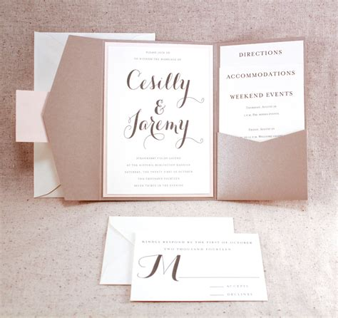 tri fold wedding invitations with pocket oxsvitation