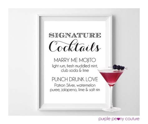 signature drink sign wedding cocktail bar drink rustic