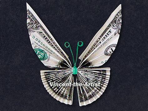 Origami Dollar Butterfly - butterfly money origami insect animal made from real