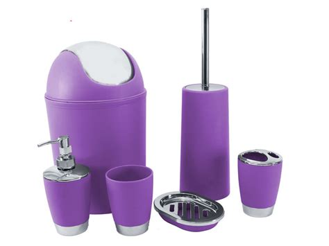 purple 6pc bathroom accessory set tumbler toilet brush