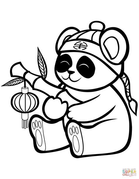 coloring panda panda with a bamboo lantern coloring page free
