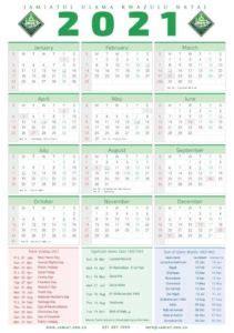 islamic calendars jamiatul ulama kzn