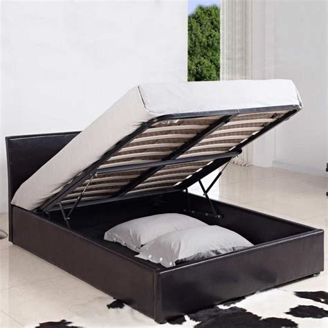 4ft ottoman storage beds 4ft small double leather ottoman storage bed black brown