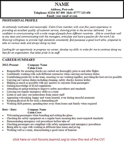 Cv In Cabin Crew Cabin Crew Cv Exle Forums Learnist Org