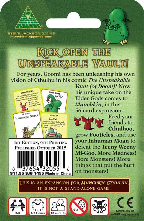 munchkin cthulhu   unspeakable vault mythos card game