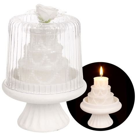 Wedding Cake Candle by Luxury White Tiered Wedding Cake Candle Topper On Stand
