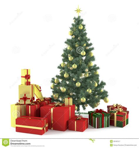 christmas tree decorated with toys royalty free stock