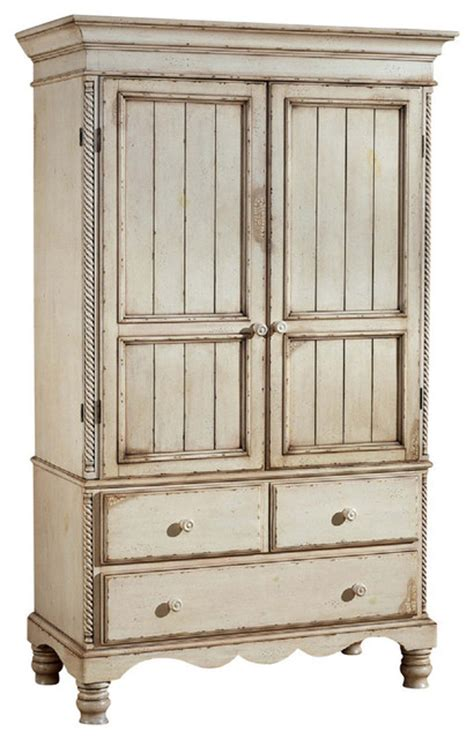 White Antique Armoire by Hillsdale Wilshire Armoire In Antique White Furniture