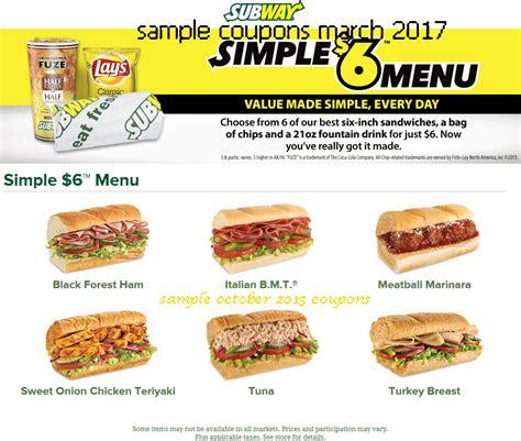 Subway Coupons Printable 2017